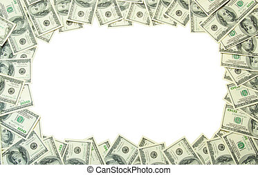 money frame - Frame made of money isolated on white...