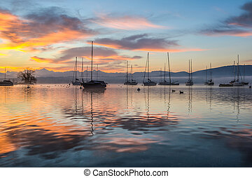Sunrise and Sailboats - Sunrise and sailboats at a small bay...