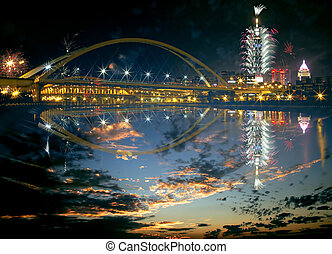 Firework show of Taipei city,Taiwan for adv or others...