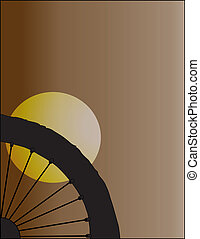I Love Bicycle in Silhouette of Black-white on Brown...