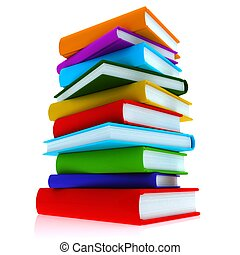 Colorful books - A stack of colorful books, close-up on a...