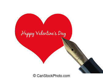 Fountain pen Valentines Card - ready to print Valentines Day...