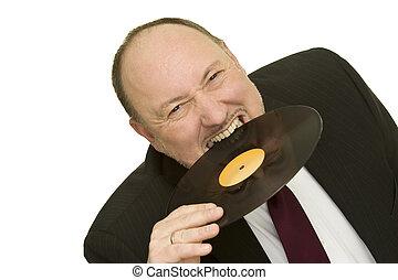 disc jockey - funny disc jockey with record