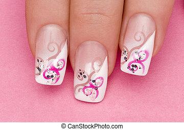 manicure - beautiful hand with fresh manicured stylish nails