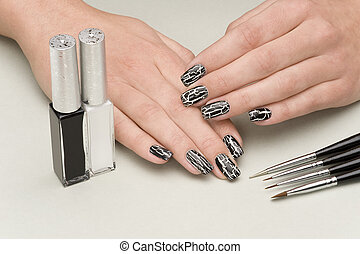manicure - beautiful hands with fresh manicured stylish...