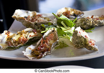 Oyster alla Kilpatrick - It shows a New Zealand Style...