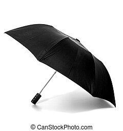 Black umbrella on white - Opened black umbrella on white...