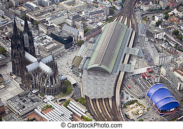 cologne (germany) - beautiful aerial image of cologne...