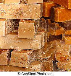Piles of sweet home made Fudge on a market stall