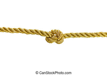 Knot tied on the gold rope