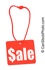 Sale tag on white