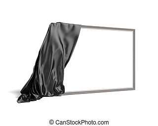 Empty picture covered with a black cloth isolated on a white...