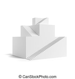 Hierarchy stairs. Pyramid concept isolated on a white...