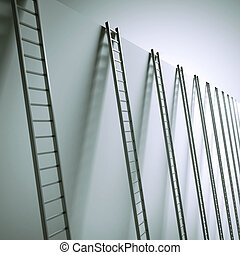 Ladders along the wall isolated on a white background