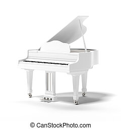 White classic grand piano isolated on a white background