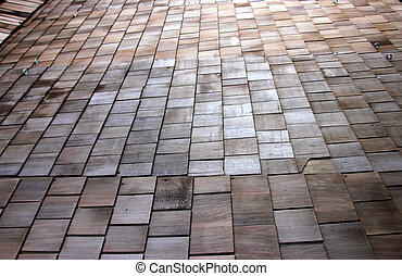 Wooden Roof Tiles - Old Wooden roofing Tiles with varying...