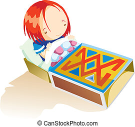 A girl in the matchbox - A cute girl is sitting on her...