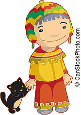 Local ethnic boy with cat - Local boy in traditional clothes...