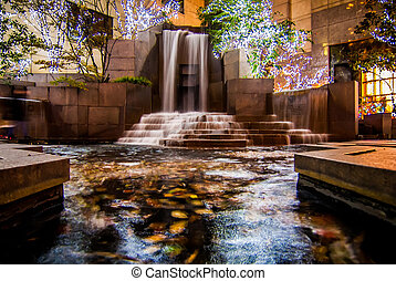 waterfall in downtown charlotte during christmas time