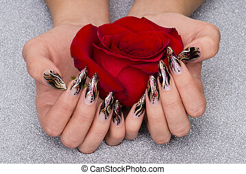 manicure - beautiful hands with fresh manicured nails...