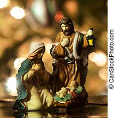 Holy Family closeup, Joseph, Virgin Mary and Baby Jesus...