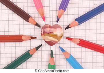 heart - A heart of a gem stone with colored crayons