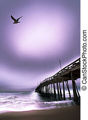 ocean pier at outer banks beach - Moody picture of the outer...