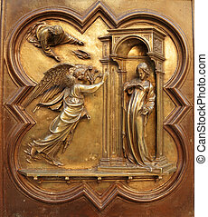 Annunciation by Lorenzo Ghiberti, angel Gabriel announce to...