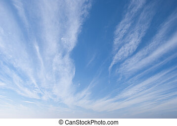 Cirrus Clouds - Cirrus or Mares Tails Clouds against a blue...