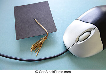Online education - Closeup of a computer mouse and...
