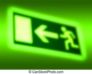 Emergency exit symbol background - Escape route symbol...