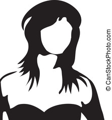 Silhouette of a lonely woman
