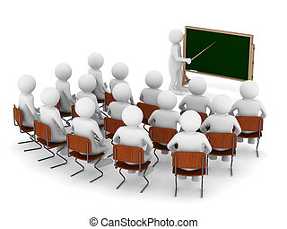 teacher with pointer at blackboard Isolated 3D image