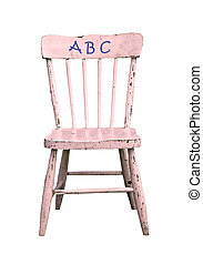 ABC on antique childrens chair - ABC on pink old childrens...