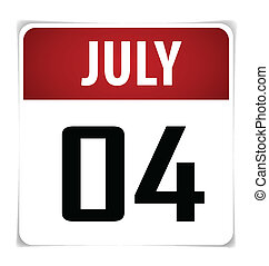 Simple Calendar Date- July 4th, vector illustration.