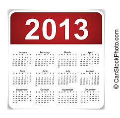Simple 2013 year calendar, vector illustration