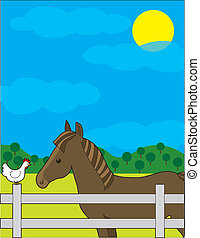Horse Farm - A chestnut horse in a fenced field. He is...