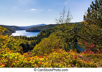 Plitvice panorama - View over Plitvice national park in...