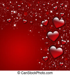 Valentines Day Card - Valentin`s Day Card with red Hearts...