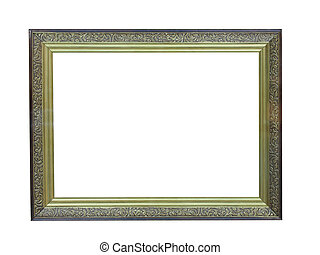 Old antique gold plated wooden picture frame over white...