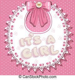 it`s a girl baby shower on pink bib