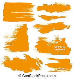 Hand-drawing orange textures of brush strokes in random...