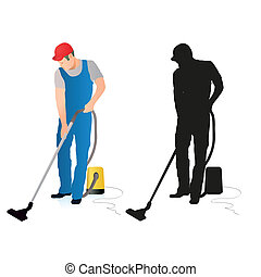 Two silhouettes of professional cleaners with vacuum cleaner
