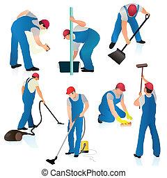 azul, limpadores, sete, jogo,  unifo