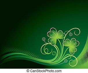 Patricks background with shamrock