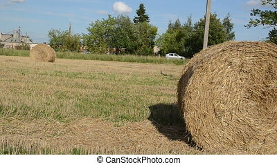 man strike straw bale - young man run and strike hit crash...