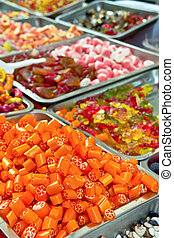 Assorted candy and Mixed colorful Bonbon in a Christmas...