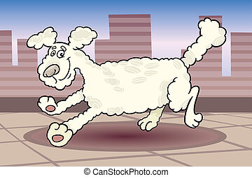 running poodle dog cartoon illustration - Cartoon...