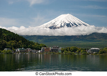 Mount Fuji in Japan - Mount Fuji from Kawaguchiko lake in...