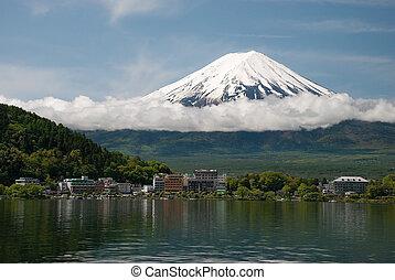 Mount Fuji in Japan - Mount Fuji from Kawaguchiko lake in...